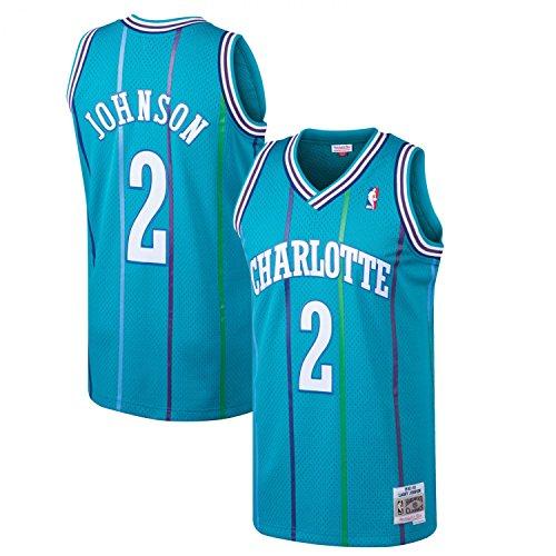 Mitchell & Ness Larry Johnson #2 Charlotte Hornets 1992-93 Swingman NBA Trikot Türkis, S
