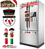 MSDADA Christmas Refrigerator Door Handle Covers Set of 4, Santa Snowman Countdown Calendar, New Year Xmas Christmas Decorations for Kitchen Appliance Door Handle Protector Dishwasher Microwave Oven