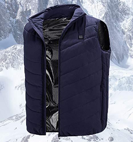 HTDHS Chaleco eléctrico calefactor Chaleco Calentado Ropa Cálida Chaqueta con Temperatura Ajustable para Mujeres Hombres Pesca Esquí Lavable (Color: Azul, Tamaño: Medio)