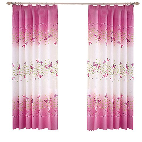 "Pannow Butterfly Flowers Printed Window Curtains with Hooks Girls Room Curtain Panels for Bedroom Living Room Kids Room or Nursery Window Drapes - 39"" x 78"", 2 Panels"