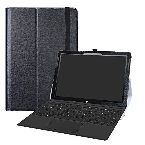 HP Chromebook x2 Tablet Custodia,LiuShan slim Sottile Pieghevole con supporto in Piedi caso per 12.3  HP Chromebook x2 12-fXXX Series 2-in-1 Tablet (come 12-f014dx) Android Tablet,Nero