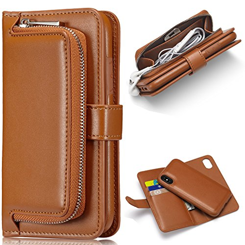 iPhone X Wallet Case Aroko Premium Zipper Pu Leather Detachable Magnetic Case Purse Clutch with Black Flip Credit Card Holder Cover for iPhone X 5.8inch (iphone X 5.8inch, Brown)