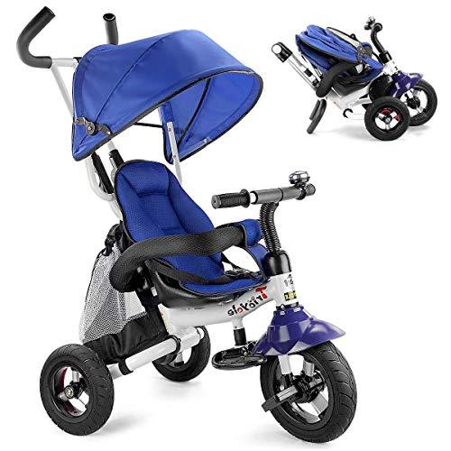 Cozy 6 en 1 bébé Trike, pliant enfants Tricycle vélo, poussette tout-petits avec Pare-soleil réglable, harnais de sécurité, Pédale pliable, sac de rangement, frein for 12 mois - 5 ans (Light Purple)