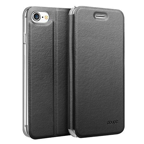 doupi Flip Hülle für iPhone SE (2020) / iPhone 8/7 (4,7 Zoll), Deluxe Schutz Hülle mit Magnetischem Verschluss Cover Klappbar Book Style Handyhülle Aufstellbar Ständer, schwarz