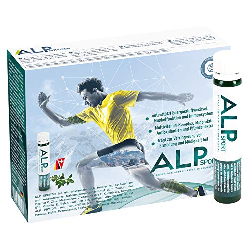 ALP SPORT Magnesium Multivitamine Voedingsupplementen Vitaminen Ampullen 14x25 ml Workout Metabolisme Booster Liquid Sportvoeding Vitamine B12 C E B Complex Zink Q10
