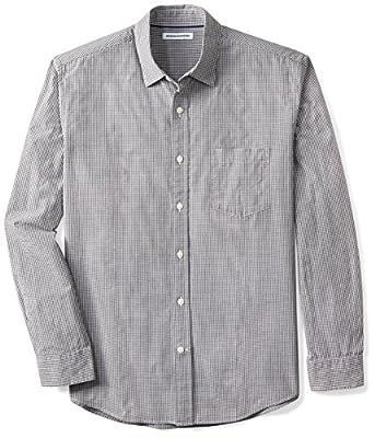 Amazon Essentials Men's Regular-Fit Long-Sleeve Casual Poplin Shirt, Black Mini-Gingham, Large