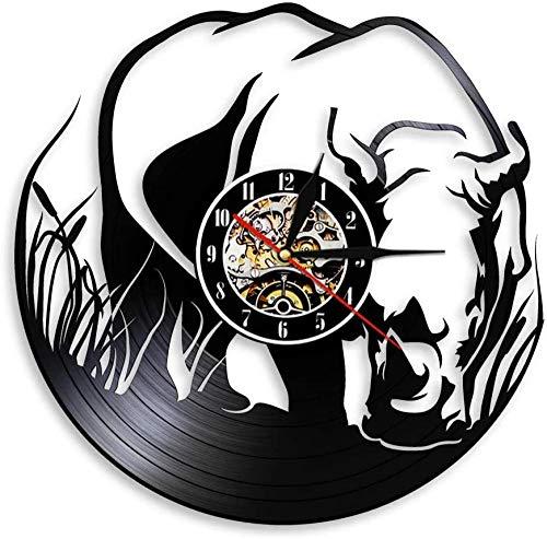 xiaoxong658 Orologio da Parete in Vinile Orologio da Parete in Vinile Record Rhino Zoo Nursery Decoration Zoo Animal Wall Africa Animal Jungle Animal Wall Rhino Wall Clock