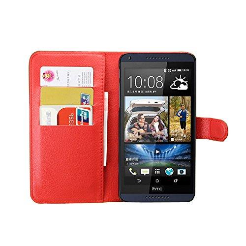Tasche für HTC Desire 816 Hülle, Ycloud PU Ledertasche Flip Cover Wallet Hülle Handyhülle mit Stand Function Credit Card Slots Bookstyle Purse Design rote