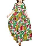 YESNO Women Casual Loose Long Maxi Bohemian Floral Dress Layered Lightweight Summer Beach Short Sleeve Swing Dress/Pockets EJF