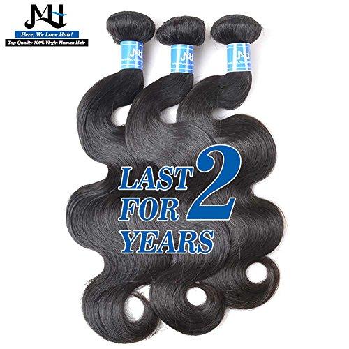 "JVH 100% Brazilian Virgin Body Wave Human Hair Bundles 3 Bundles Natural Black No Shedding No Tangle (20""20""20"")"