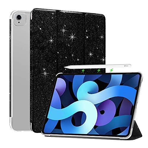 FSCOVER Case for iPad Air 4th Generation 10.9 Inch 2020, Glitter Slim Trifold Stand Flip Smart Cover with Auto Sleep/Wake, Supports iPad Pencil Charging for iPad Pro 11 2nd Gen 2020/1st 2018, Black