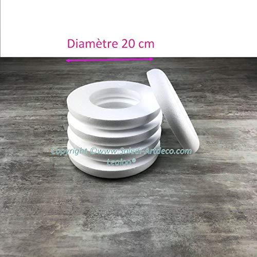 5 stuks halve ringen 20 cm van polystyreen, kroon met platte rug 3 cm hoog