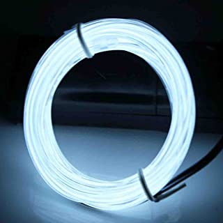 JYtrend 9ft Neon Light El Wire w/Battery Pack - White