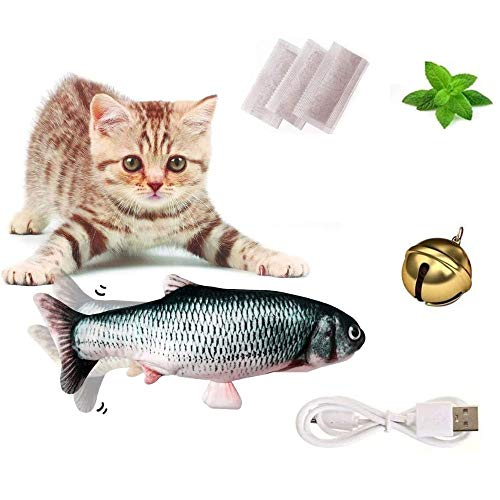 Clonic Spielzeug mit Katzenminze, Katze Interaktive Spielzeug, Katze Fischform Zahnbürste, Elektrische Puppe Fisch Plüschtier, 30CM Simulation Fisch, Kissen Kauen Spielzeug für Katze