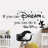 stickers muraux sticker mural Si tu peux le rêver tu peux le faire Citation Mickey Mouse Affiche pour enfants Chambre d'enfant décalcomanie Salle de jeux Lc