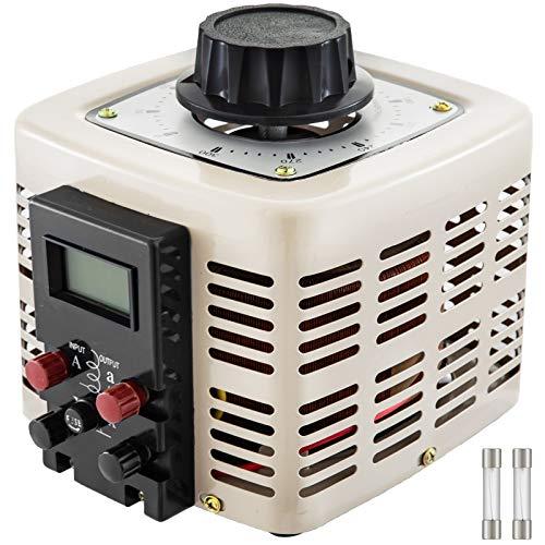 VEVOR Convertidor de Voltaje 1 Fase 2 KW 0-300 V Transformador de Potencia Regulador de Voltaje con Pantalla LCD y Seguro