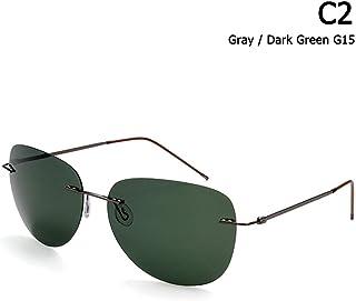 5f5b0e964f ZHOUYF Gafas de Sol Hombres Ultraligero Titanio Polarizado Plegable Bisagra  Gafas De Sol Sin Montura Estilo