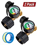 SHINESTAR 2 Pack Upgraded Propane Gas Pressure Gauge for 5-40lb Propane Tank with Type 1 Connection, Stay Accurate at Different Temperatures