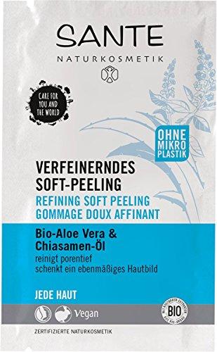 SANTE Naturkosmetik Verfeinerndes Soft Peeling, Bio-Aloe, Reinigt porentief, Ebenmäßiges Hautbild, Peelt sanft, Vegan, 1 x 8ml