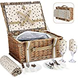 G GOOD GAIN Willow Picnic Basket Set for 4 Persons with Large Insulated Cooler Bag and Waterproof Picnic Blanket (2 Person)