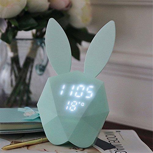 IHRKleid Nachtlicht, Digital Wecker mit niedlichen Kaninchen Thermometer wiederaufladbare Tisch...