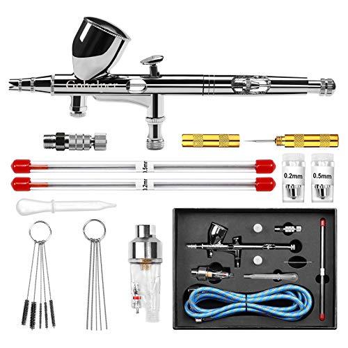 Gohelper Airbrush Set Doppel-Action Airbrushpistole mit 0,2 0,3 0,5 mm Düsen Air Brush Reinigungs Set Airbrush-Set für torten, Modellen, Make-up, Schuhen, Nägeln, Malerei, Backen, Kunsthandwerk