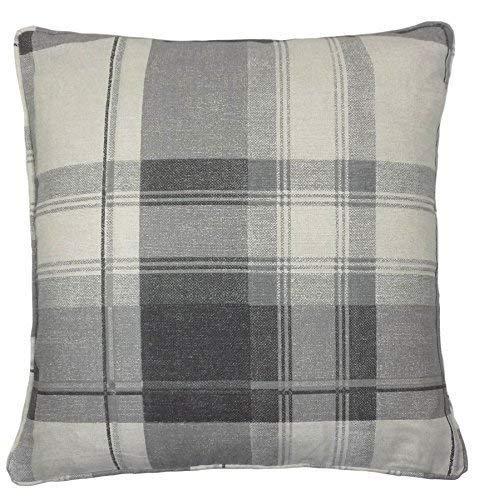 2 X Classic Tartan Check Plaid 100% Cotton Silver Grey Cream Cushion Covers to Match Curtains Drapes 17' - 43CM