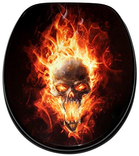 WC Sitz, hochwertige Oberfläche, einfache Montage, stabile Scharniere, Totenkopf in Flammen