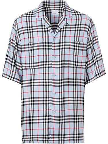 BURBERRY Luxury Fashion Herren 8025822 Hellblau Viskose Hemd | Frühling Sommer 20