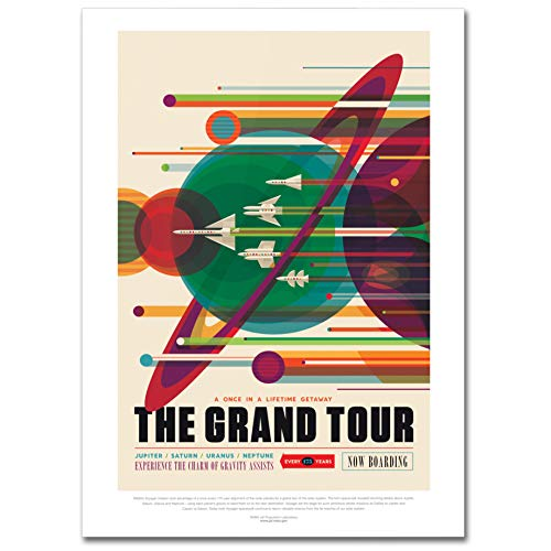 LaMAGLIERIA Hochqualitatives Poster - NASA Visions of The Future The Grand Tour - Posterdruck glänzend laminiert im Großformat, 50cmx70cm
