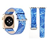 alsatek Cinturino in Pelle PU per Apple Watch Series 3/2/1 38 mm Stampa Marmo Blu