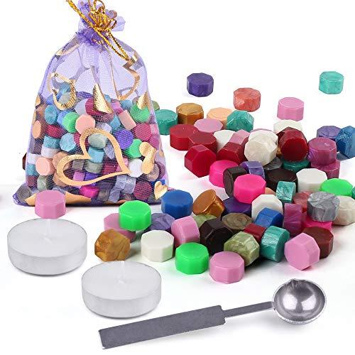 LotFancy 230 Pezzi Ceralacca per Timbro Sigillo Forma Ottagono Sigillo Perline Multicolori Ceralacca con 2 Pezzi Candele di tè e 1 Cucchiaio da Fusione