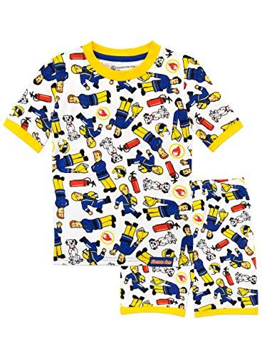 Fireman Sam Pijamas de Manga Corta para niños Sam el Bombero Blanco 4-5 Años