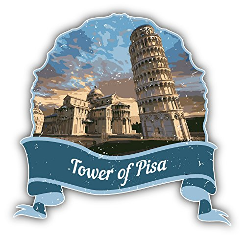 Tower Of Pisa Italy World Landmark Grunge Travel Vinyl Decal Bumper Sticker 5'' X 5''