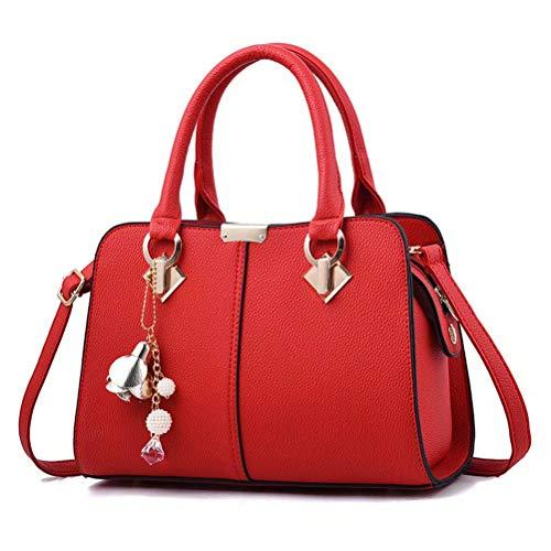TUWEN Limited-Colors Borsa da Donna, in Nero, grigio, rosa, Jeans, effetto pelle, con catena-rosso