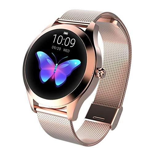 Reloj de Pulsera Inteligente para Mujer, Pulsera con Tapa, Pantalla Brillante, Resistente al Agua, podómetro de Moda, monitoreo, Ejercicio, monitoreo del sueño, cinturón de Acero Dorado