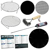 Air Fryer Stackable 7 inch Rack Accessories Set Compatible with Costway, Power Airfryer Oven, Maxi-Matic, Chefman, Chulux, Farberware, FrenchMay +More   with Cooking Times Cheat Sheet Fridge Magnets