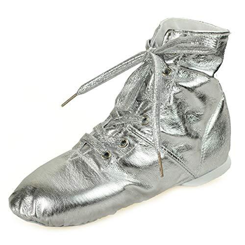 XLH Zapatos de Baile de Jazz en la Patente de Tubo de Cuero para Adultos Zapatos de Yoga Hembra Ballet niños Zapatos de Baile,Plata,30