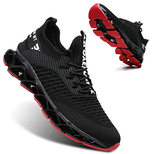 Vooncosir Men's Fashion Sneakers Breathable Mesh Running Shoes Blade Non Slip Soft Sole Casual Athletic Lightweight Walking Shoes(11,Black Red)