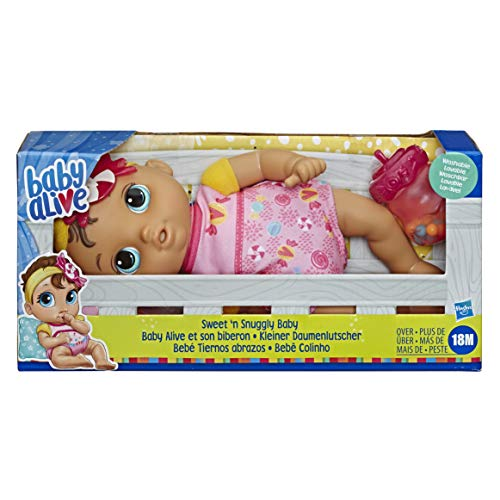 Baby Alive Sweet 'n Snuggly Baby, Soft-Bodied Washable Doll, Includes Bottle, First Baby Doll Toy for Kids 18 Months Old and Up