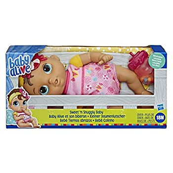 Baby Alive Sweet 'n Snuggly Baby Soft-Bodied Washable Doll Includes Bottle First Baby Doll Toy for Kids 18 Months Old and Up