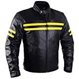 Motorcycle Leather Jackets For Men Black Moto Riding Racing Cafe Racer Retro Biker Jacket CE Armored (L)