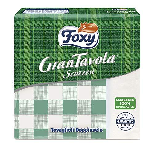 Foxy GranTavola Scozzesi | Tovaglioli Doppiovelo | 43 pezzi 32x32,5cm | Decoro scozzese 4 colori | Carta 100% certificata PEFC | Confezione 100% riciclabile
