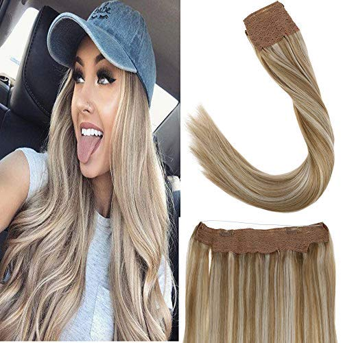LaaVoo 12' Halo Human Hair Extension Highlighted Color Light Golden Brown to Light Blonde Secret Fish Line Hairpieces Real Human Hair 80g 10.5inch Width