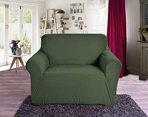 Elegant Comfort Jersey Luxury Featuring Super Soft Pet Dog Furniture Protector Fitted Couch Slipcover, Arm Chair, Hunter Green