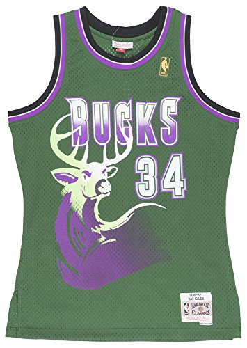 Ray Allen Milwaukee Bucks Mitchell and Ness Men's Green Throwback Jesey X-Large