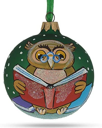 BestPysanky Wise Owl Reading Book Glass Ball Christmas Ornament product image