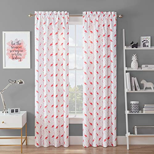 """WAVERLY Spree Room Darkening Curtains for Bedroom - Flamingo Flock 42"""" x 63"""" Thermal Insulated Single Panel-Rod Pocket Light Blocking Curtains for Living Room, Pink"""