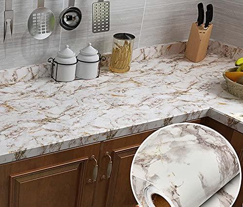 xiaoshun Adhesivo decorativo para pared de mármol grueso para cocina, armario, muebles...