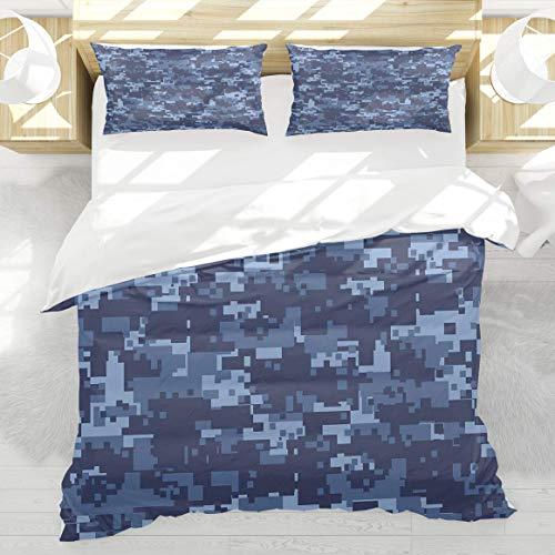 888 Camo Militaristic Digital Effected Armed Forces Pattern Mode Grunge en Bleu Housse de Couette 140x200cm 2 taie d'oreiller 50x75cm